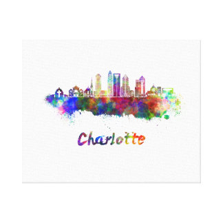 Charlotte V2 skyline in watercolor Canvas Print