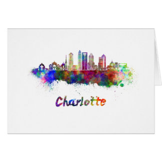 Charlotte V2 skyline in watercolor Card