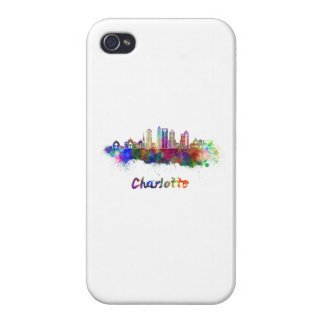 Charlotte V2 skyline in watercolor Cover For iPhone 4