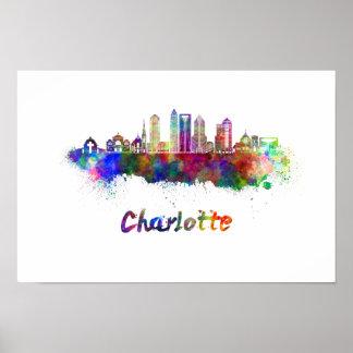 Charlotte V2 skyline in watercolor Poster