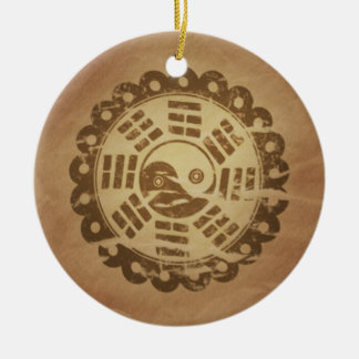 Charm Against Evil Forces Chinese Magic Charms Double-Sided Ceramic Round Christmas Ornament