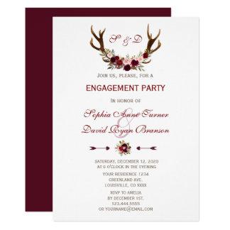 Charm Burgundy Marsala Floral Antlers Engagement Card