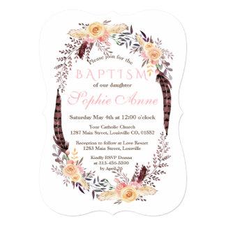 Charm Burgundy Marsala Floral Girl Baptism Invite