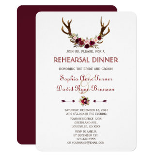 Charm Fall Marsala Floral Antlers Rehearsal Dinner Card