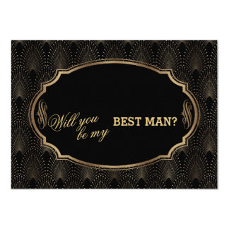 Charm Great Gatsby Art Deco Wedding BEST MAN Card