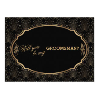 Charm Great Gatsby Art Deco Wedding GROOMSMAN Card