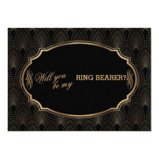 Charm Great Gatsby Art Deco Wedding Ring Bearer Card