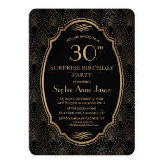 Charm Great Gatsby Vintage Art Deco Birthday Party Card