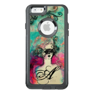 CHARM /Lady With Mask Monogram Pink Teal Green OtterBox iPhone 6/6s Case