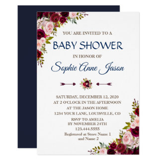 Charm Marsala Floral Fall Navy Blue Baby Shower Card