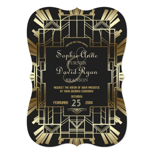 Charm Roaring 20's Great Gatsby Wedding Invite