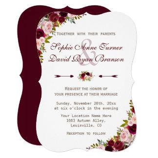 Charm Rustic Burgundy Marsala Floral Wedding Card