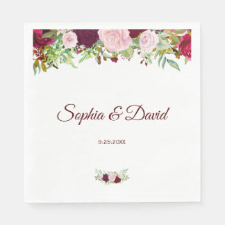 Charm Rustic Burgundy Marsala Floral Wedding Disposable Serviette