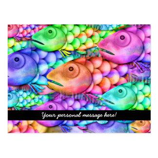 Charm School Colorful Rainbow Fish Collage Postcard