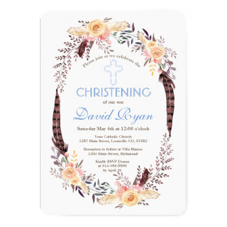 Charm Watercolor Boho Floral Boy Christening Card