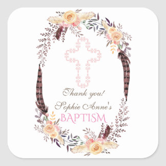 Charm Watercolor Boho Floral Girl Baptism Square Sticker