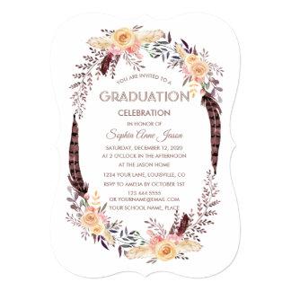 Charm Watercolor Boho Floral GRADUATION Invitation