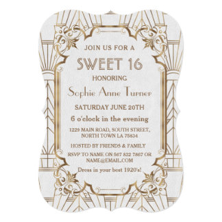 Charm White Gold Great Gatsby Art Deco Sweet 16 Card