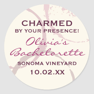 Charmed Favor Sticker | Burgundy Wine Theme