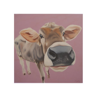 """""""Charmed, I'm Sure"""" Cow on pink background. Wood Canvas"""