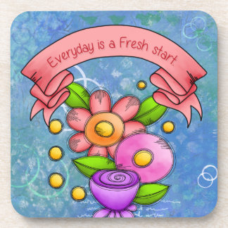 Charmed Positive Thought Doodle Flower Coaster