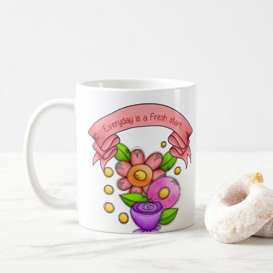 Charmed Positive Thought Doodle Flower Mug