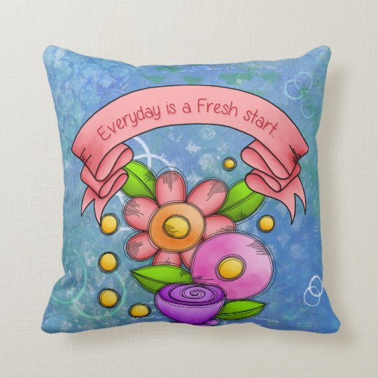 Charmed Positive Thought Doodle Flower Pillow