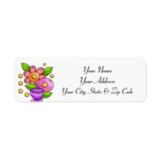 Charmed Watercolor Doodle Flower Address Label