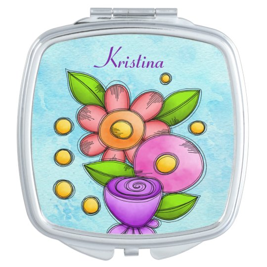 Charmed Watercolor Doodle Flower Compact Mirror