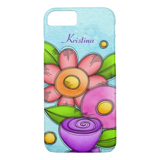 Charmed Watercolor Doodle Flower iPhone Case