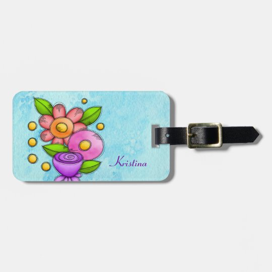 Charmed Watercolor Doodle Flower Luggage Tag