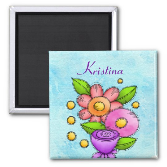 Charmed Watercolor Doodle Flower Magnet