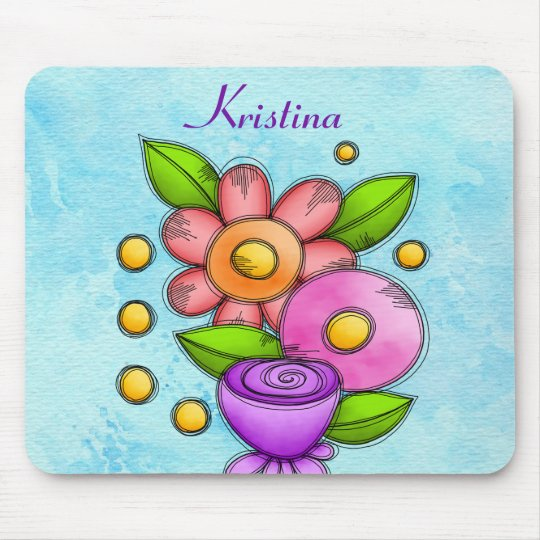 Charmed Watercolor Doodle Flower Mousepad