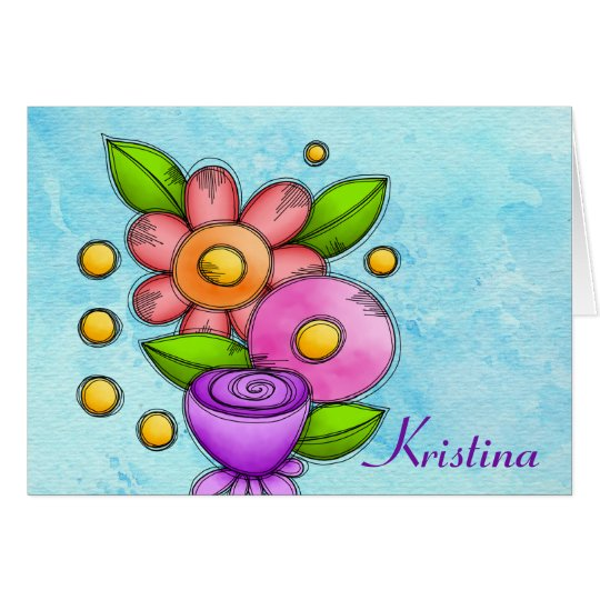 Charmed Watercolor Doodle Flower Note Card