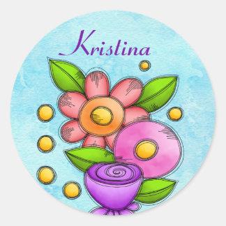 Charmed Watercolor Doodle Flower Sticker