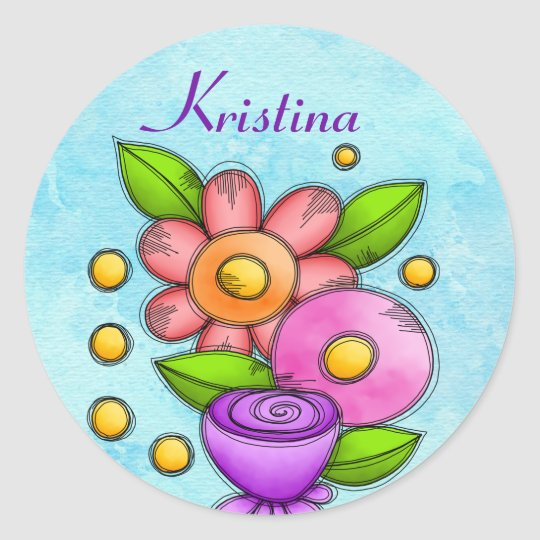 Charmed Watercolor Doodle Flower Sticker