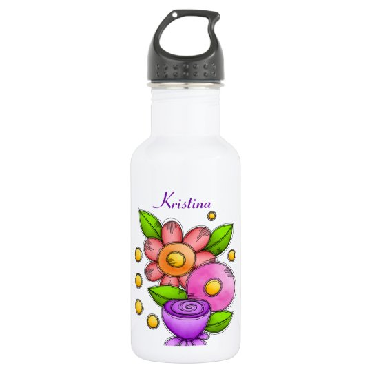 Charmed Watercolor Doodle Flower Water Bottle