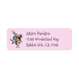Charming Alice in Wonderland White Rabbit Return Address Label