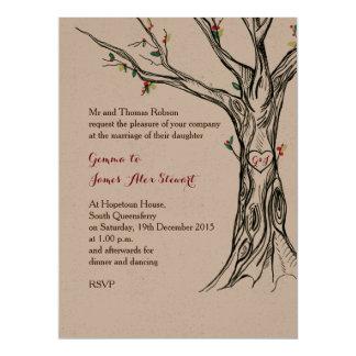 Charming Artisan Holly Tree Invitation