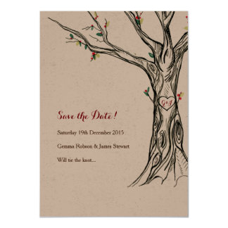 Charming Artisan Holly Tree Save The Date Cards 11 Cm X 16 Cm Invitation Card