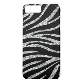 Charming Black Zebra Print Silver Glitter Sparkles iPhone 8 Plus/7 Plus Case