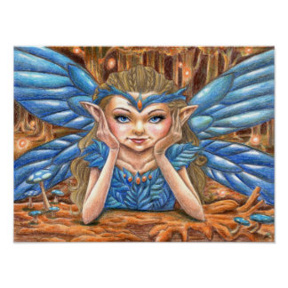 Charming Blue Faerie Poster