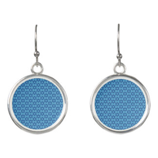 Charming Blue Star of David Jewish Earrings