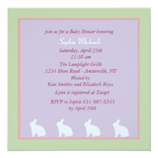 "Charming Bunnies Baby Shower Invitation 5.25"" Square Invitation Card"