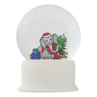 Charming Cartoon Christmas Elephant with Bell Snow Globe