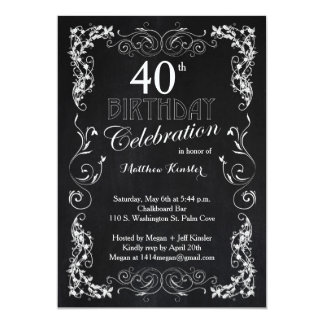 Charming Chalkboard 40th Birthday Party Card