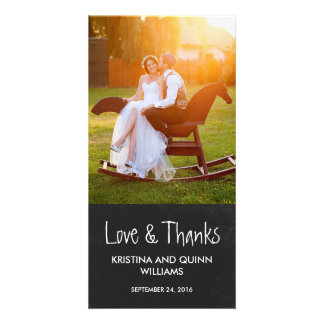 Charming Chalkboard Wedding Thank You Photo Card