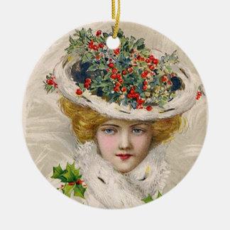 Charming Christmas Lady Ceramic Ornament