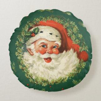 Charming Christmas Retro Vintage Jolly Santa Round Cushion