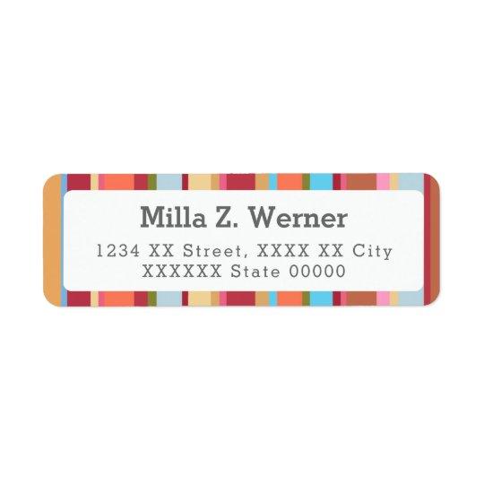 charming colourful stripes return address label